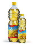 Sunflower or vegetable oil in plastic bottles  on white. Stock Images
