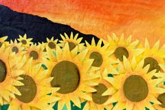 Sunflower Wall Art Graffiti. Textured sunflower scene in street art that was photographed in the Canary Islands Royalty Free Stock Image