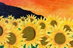Sunflower Wall Art Graffiti Royalty Free Stock Image
