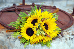 Sunflower wedding bouquet Stock Photography