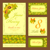 Sunflower Wedding card set. Printable Vector illustration. Royalty Free Stock Photography