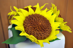 Sunflower. White wedding cake with sunflowers Stock Image