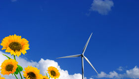Sunflower and wind-turbine. In blue shy Royalty Free Stock Image