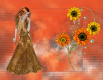 Sunflower Woman on Orange Background Royalty Free Stock Photo