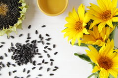 Sunflower and  wood table with natural backgrou Royalty Free Stock Image