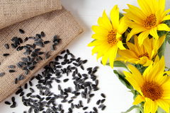 Sunflower and  wood table with natural backgrou Stock Image