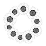 Sunflower Wreath Outline isolated on White Background. Vector Illustration. Sunflower Wreath Outline isolated on White Background. Vector Illustration royalty free illustration