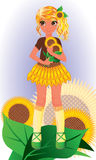 Sunflower young girl, vector Stock Images