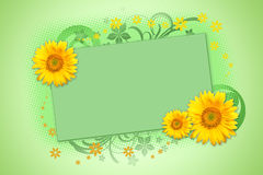 Sunflowers. Spring themed background with sunflowers and floral decorations Royalty Free Stock Photography