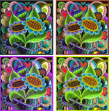 Sunflowers. Stained-glass window, 4 variants Stock Images