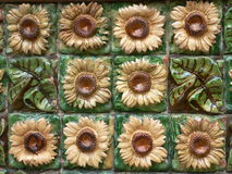 Sunflowers. El Capricho, modernist building by Gaudi decorated with sunflowers, Comillas, Cantabria (Spain Stock Photography