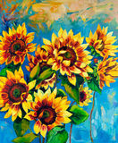 Sunflowers. Original oil painting of sunflowers on canvas.Modern Impressionism Royalty Free Stock Image