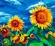 Sunflowers. Original oil painting of sunflowers on canvas.Modern Impressionism Stock Photography