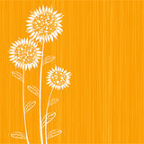 Sunflowers. Silhouettes of sunflowers on yellow Stock Image