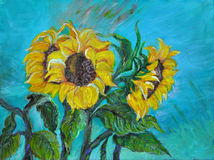 Sunflowers, acrylic painting Stock Photography