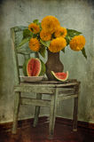 Sunflowers And Water-melon Stock Images
