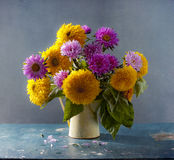 Sunflowers and asters Royalty Free Stock Photos