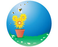 Sunflowers with bees royalty free illustration