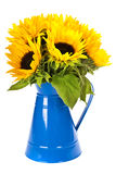 Sunflowers in a blue vase Stock Photography