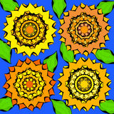 Sunflowers. Bright abstract ornament with sunflowers with leaves Royalty Free Stock Photography