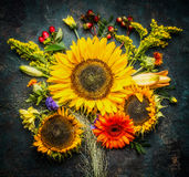 Sunflowers bunch on dark vintage background, top view Stock Photos