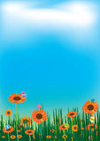 Sunflowers Butterfly Sky Cloud Landscape_eps Royalty Free Stock Photo
