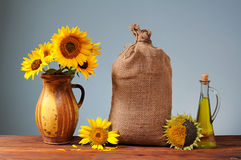 Sunflowers in a ceramic vase Royalty Free Stock Image