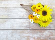 Sunflowers Daisies and Driftwood Royalty Free Stock Image