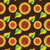 Sunflowers on a dark brown background. Seamless pattern. vector illustration