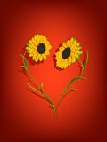 Sunflowers decorative background Stock Photos