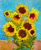Sunflowers, digital art stylised like impressionism painting Royalty Free Stock Photos