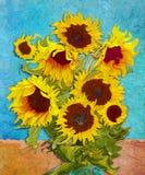 Sunflowers, Digital Art Stylised Like Impressionism Painting Royalty Free Stock Photos