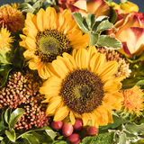 Sunflowers and fall flowers. Sunflowers, yeloow-orange roses, rose hips and other fall flowers Stock Images