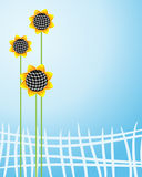 Sunflowers fence vertically Royalty Free Stock Image