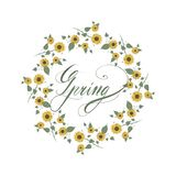 Sunflowers floral round frame nature. royalty free illustration