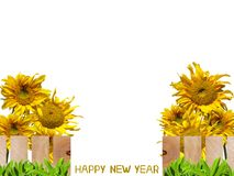 Sunflowers garden Happy New Year Royalty Free Stock Photos