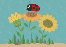 Sunflowers and a Ladybird Illustration royalty free illustration