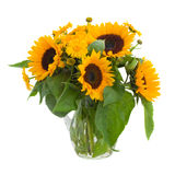 Sunflowers  and marigold flowers in vase Stock Photography