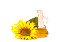 Sunflowers and oil Royalty Free Stock Image