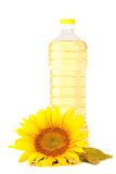 Sunflowers and oil. Isolated on white background Stock Photos
