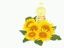 Sunflowers and oil Stock Photo