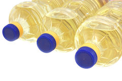 Sunflowers oil into bottles. Isolated stock photography