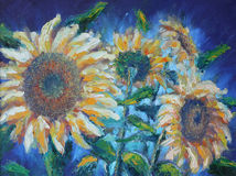 Sunflowers, oil painting Stock Photography
