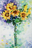Sunflowers oil painting. Original oil painting of sunflowers on canvas - Modern Expressionism Stock Photo
