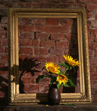 Sunflowers and old frame Stock Image