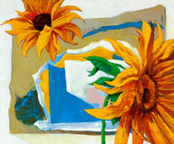 Sunflowers. Original oil painting of abstract sunflowers on canvas.Modern Impressionism Royalty Free Stock Images