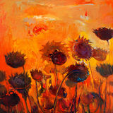 Sunflowers. Original oil painting of abstract sunflowers on canvas.Modern Impressionism Royalty Free Stock Photo