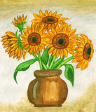 Sunflowers, painting Stock Photos