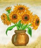 Sunflowers, painting Stock Photos