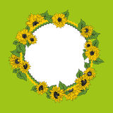 Sunflowers. Round frame with sunflowers on a green background Stock Images